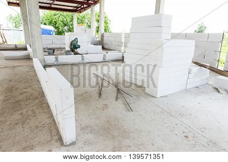 Home building construction brick wall in site