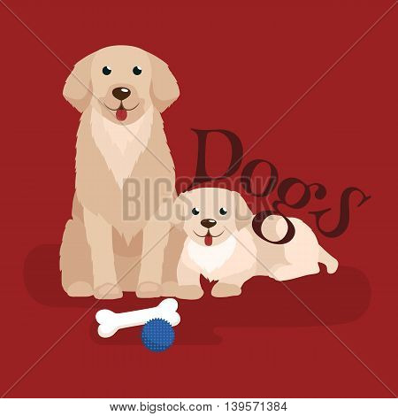 cute small puppy and dog, adorable pets background, domestic animal with pedigree vector illustration pictograms