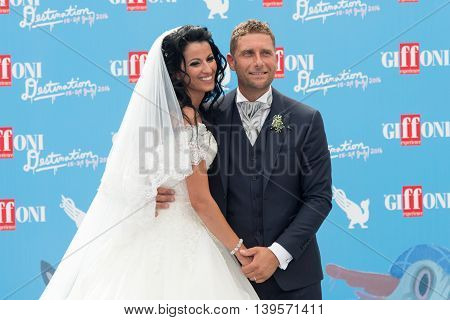 Giffoni Valle Piana SA ITALY - July 23 2016: Married couple on photocall at Giffoni Film Festival 2016 - on July 23 2016 in Giffoni Valle Piana Italy.