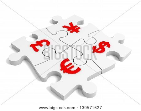 Puzzle currency concept on white background. 3D illustration.