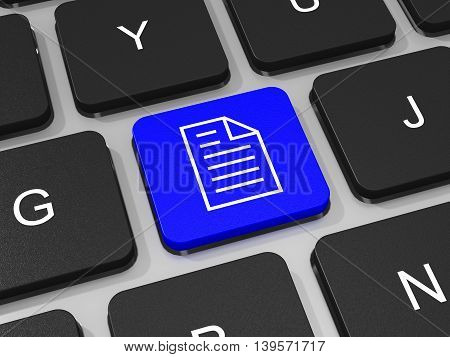 Document Key On Keyboard Of Laptop Computer.