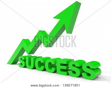 Graph up success arrow on white background. 3D illustration.