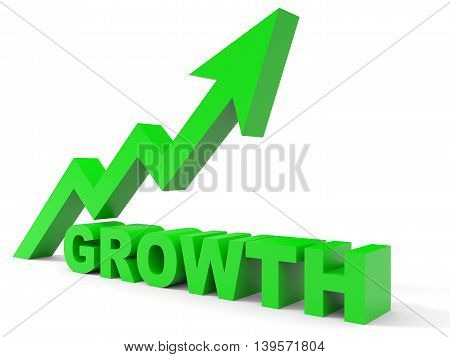 Graph up growth arrow on white background. 3D illustration.