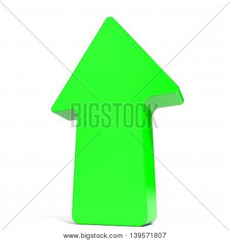 Green up arrow on white background. 3D illustration.