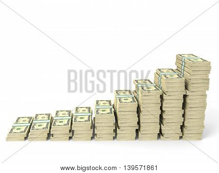 Money Stacks Graph. Two Dollars.