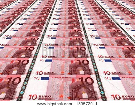 Euro background. A lot of ten euros .3D illustration.