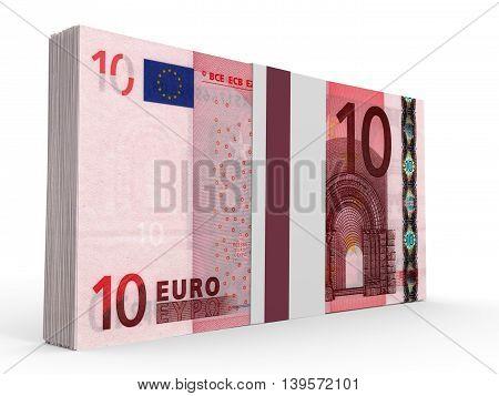Pack Of Banknotes. Ten Euros.