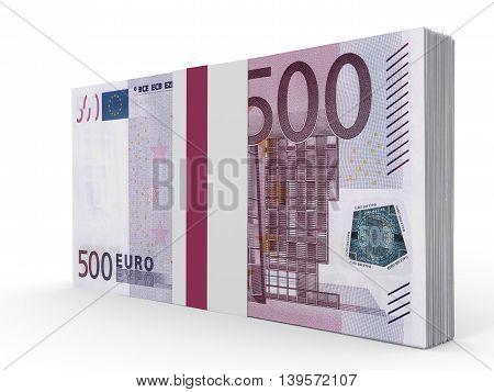 Pack Of Banknotes. Five Hundred Euros.