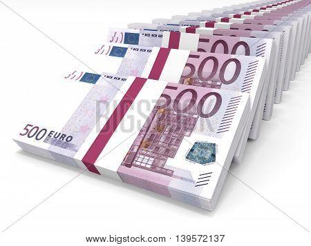 Stacks Of Money. Five Hundred Euros.