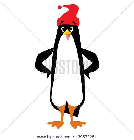 Children vector illustration of funny penguin in beanie or cap with pompom or bobble