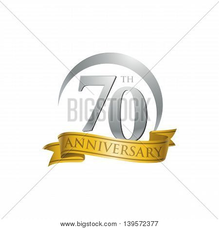 70th anniversary gold logo template. Creative design. Business success