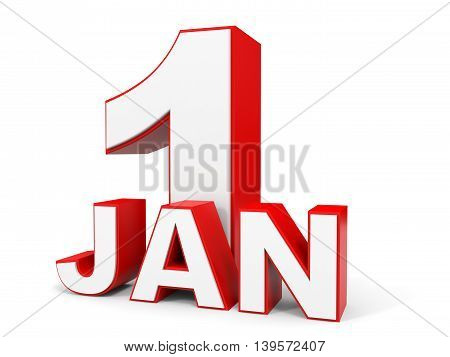 January 1. 3D Text On White Background.