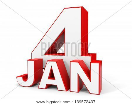 January 4. 3D Text On White Background.