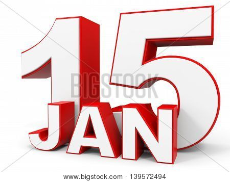 January 15. 3D Text On White Background.