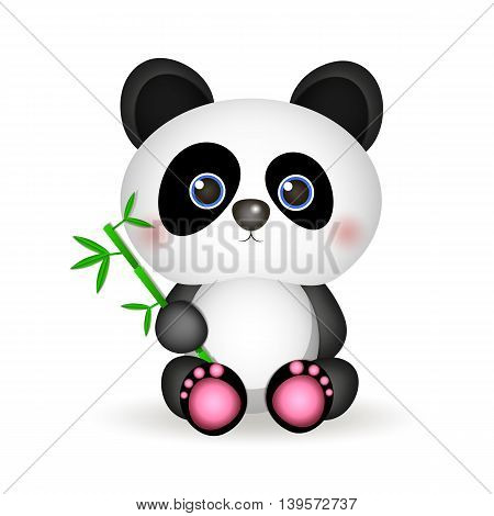Very cute Panda eating bamboo vector illustration