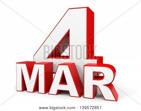 March 4. 3D Text On White Background.