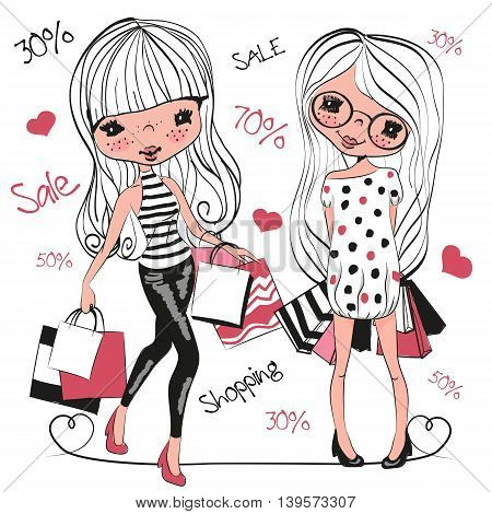Two Cute cartoon girls with bags on a white background