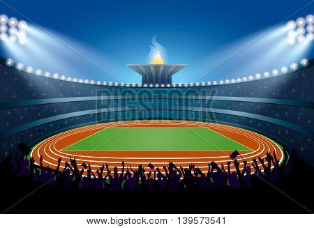 Excited Crowd Of People At Athletics Stadium. Summer Games 2016. Vector Illustration
