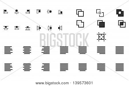 Set of align shapes, text and objects vector icons for web site and mobile app application. Alignment sign illustration