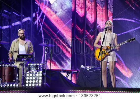 VITEBSK, BELARUS - JULY 17: Swiss band Kadebostany (Kadebostan, Kristina, Jaafar Aggiouri, Jérôme Léonard) perform during the 25th Slavyansky Bazar Festival on July 17, 2016 in Vitebsk, Belarus