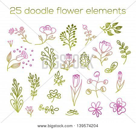 Doodle flower elements 25. Cute floral pink and green illustrations