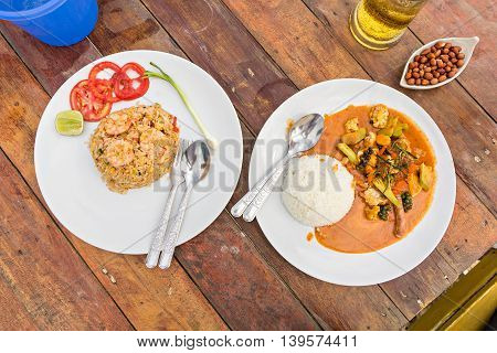 Fried Rice With Shrimp And Spicy Fried Squid With Red Curry, Thai Food