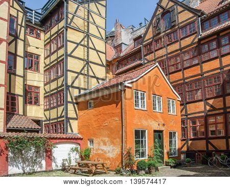 colorful historic frame houses in Copenhagen the capital city of Denmark