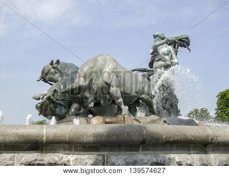 detail of the Gefion Fountain in Copenhagen the capital city of Denmark