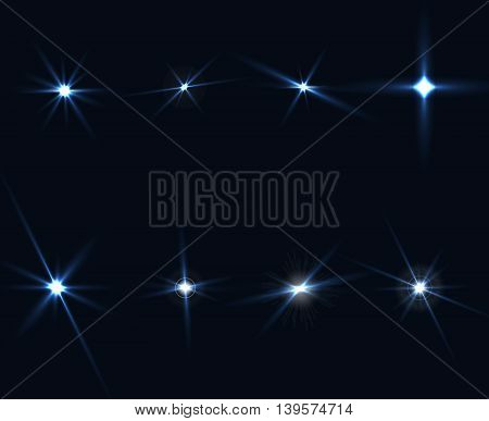 Light Glow Flare Stars Effect Set on transparent background. Vector illustration EPS 10