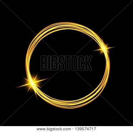 Magic light energy circle. Glowing fire ring trace. Glitter sparkle swirl trail effect on black background