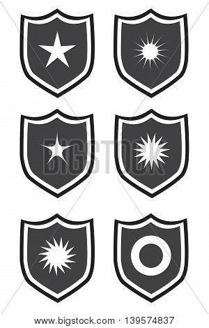 Shield icon on a white background star shape icon set sign