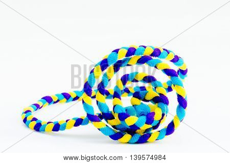 Nylon rope abstract background on white table