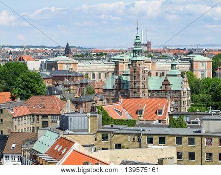 aerial view of Copenhagen the capital city of Denmark