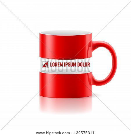 Red mug with linear space for message in the middle.