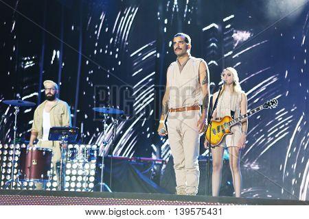 VITEBSK, BELARUS - JULY 17: Swiss band Kadebostany (Kadebostan, Kristina, Jaafar Aggiouri, Jrme Lonard) perform during the 25th Slavyansky Bazar Festival on July 17, 2016 in Vitebsk, Belarus