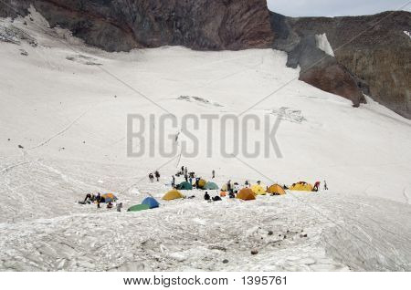 Mountain Climbers And Their Tents At Camp Muir