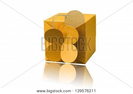 gift box wrapped with simple brown paper isolated on white background.