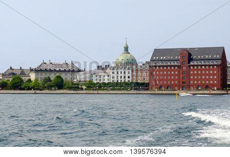 waterside scenery in Copenhagen the capital city of Denmark