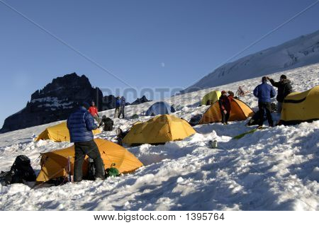 Mountain Climbers At Base Camp