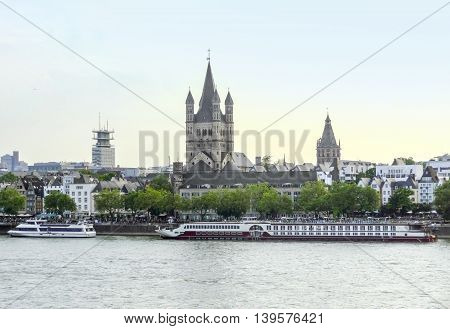 waterside scenery in Cologne a city in North Rhine-Westphalia in Germany
