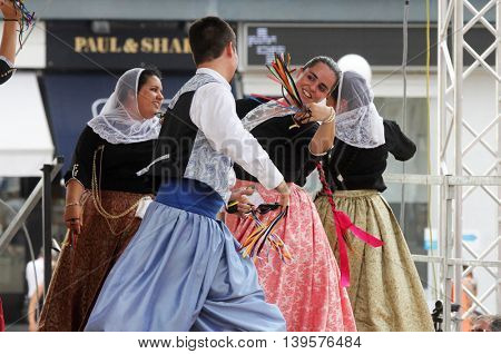 ZAGREB, CROATIA - JULY 22: Members of folk group Escola de ball de bot Calabruix from Mallorca, Spain during the 50th International Folklore Festival in center of Zagreb, Croatia on July 22, 2016