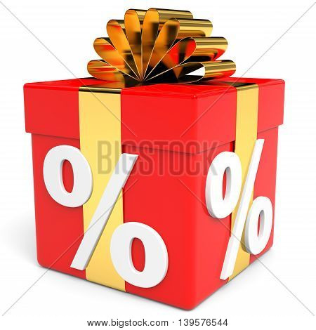 Discount box  on white background. Present. 3D illustration.