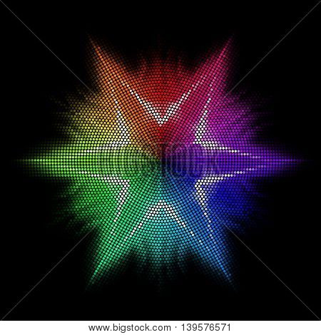 Star is made of multicolored mosaic. Black backdrop.