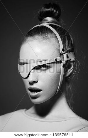clean face natural skin beauty highlight black and white portrait