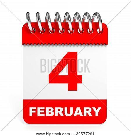 Calendar On White Background. 4 February.