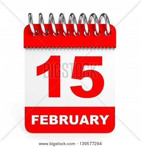 Calendar On White Background. 15 February.