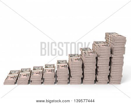 Money Stacks Graph. Fifty Dollars.