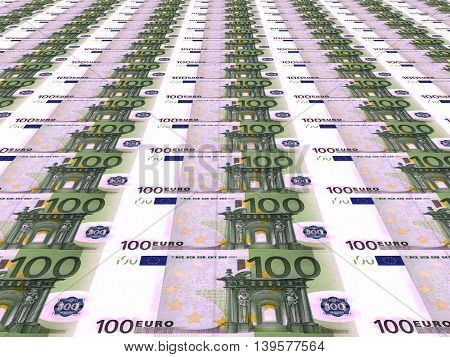 Euro Background. One Hundred Euros.