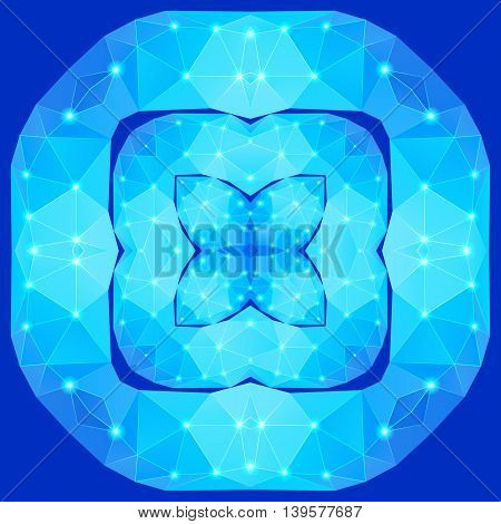 Polygonal geometric constellation in form square flower with four petals on the blue background