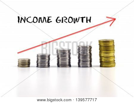 Conceptual Image. Stacks Of Coins Against White Background With Red Arrow And Income Growth Words.